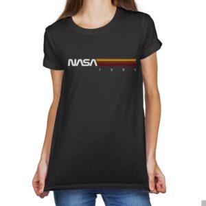 Camiseta Feminina Preta – 100% Algodão –  Listras STS-37 1991
