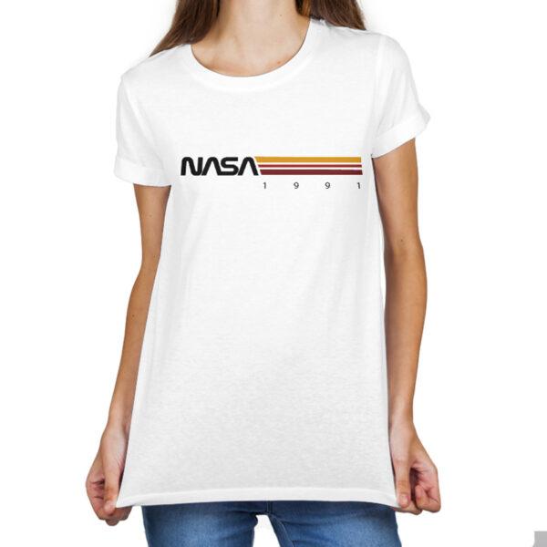 Camiseta Feminina Branca - 100% Algodão - Listras STS-37 1991
