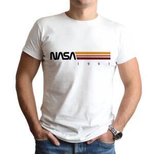 Camiseta Unissex Branca – 100% Algodão –  Listras STS-37 1991