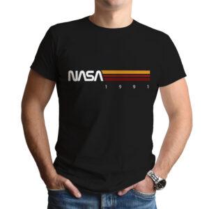Camiseta Unissex Preta – 100% Algodão –  Listras STS-37 1991
