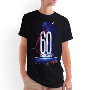Camiseta Unissex Preta – 100% Algodão – Imagem Comemorativa NASA 60 Anos