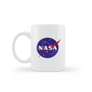 Caneca de Cerâmica Branca – Logo NASA Meatball