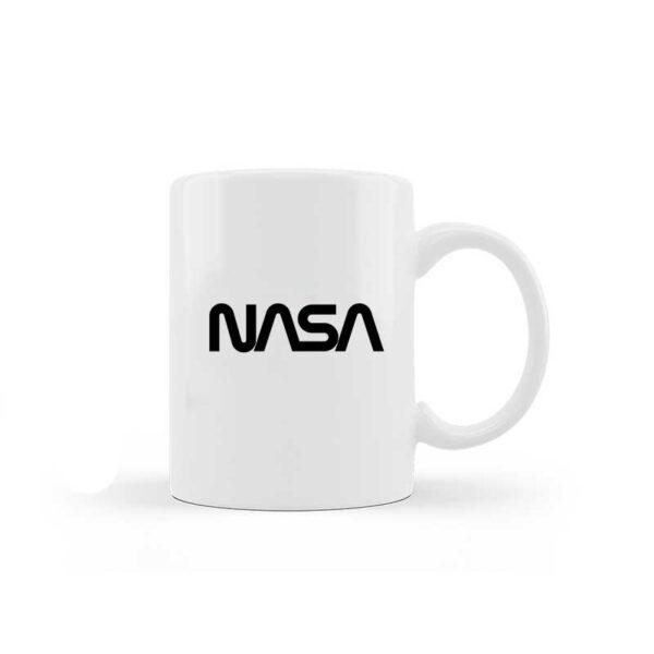 Caneca de Cerâmica Branca - Logo NASA Worm