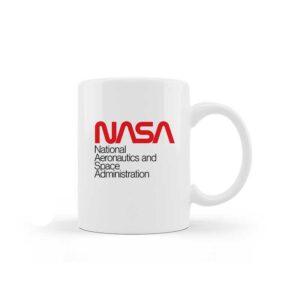 Caneca de Cerâmica Branca – Logo Sigla NASA