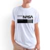 Camiseta Unissex Branca - 100% Algodão - Logo NASA Worm Sobre Blocos