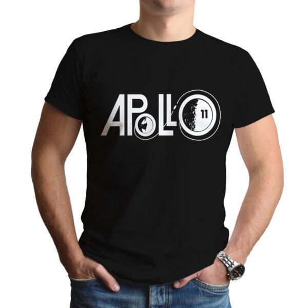 Camiseta Unissex Preta - 100% Algodão - Logo Missão Apollo 11