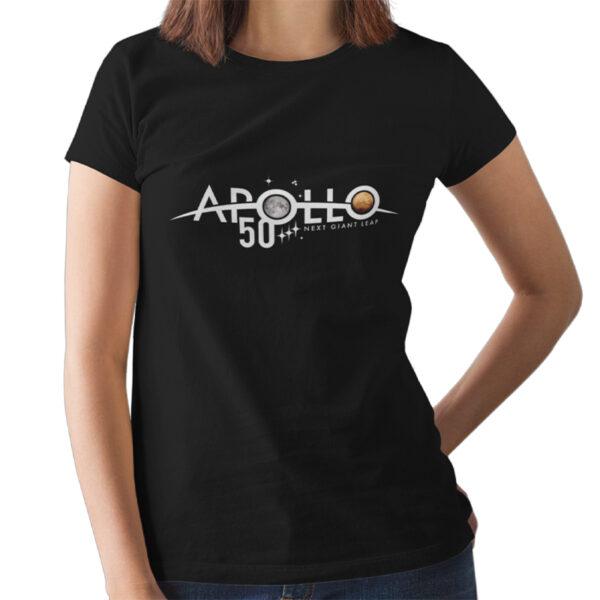 Camiseta Feminina Preta - 100% Algodão - Logo Comemorativa Apollo 50 Anos
