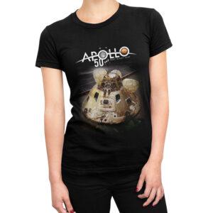 Camiseta Feminina Preta – 100% Algodão – Imagem Capsula e Logo Apollo 50 Anos