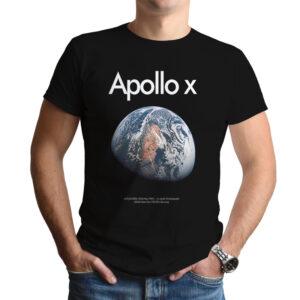 Camiseta Unissex Preta – 100% Algodão- Apollo X