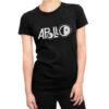 Camiseta Feminina Preta - 100% Algodão - Logo Missão Apollo 11