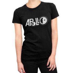 Camiseta Feminina Preta – 100% Algodão – Logo Missão Apollo 11