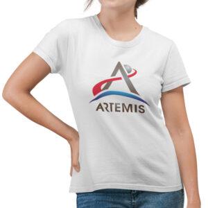 Camiseta Feminina Branca – 100% Algodão – Logo Missão Artemis
