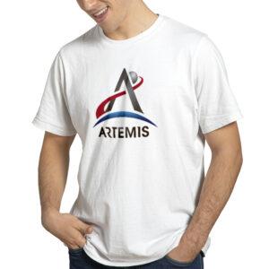 Camiseta Unissex Branca – 100% Algodão – Logo Missão Artemis