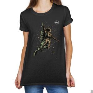 Camiseta Feminina Preta – 100% Algodão – Cosmonauta Logo NASA Meatball