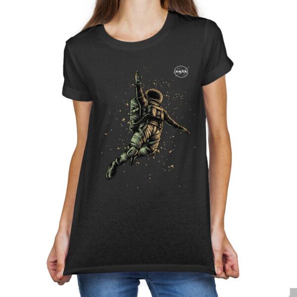 Camiseta Feminina Preta - 100% Algodão - Cosmonauta Logo NASA Meatball