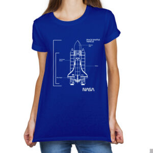 Camieta Feminina Azul – 100% Algodão – Space Shuttle Vehicle Blueprint