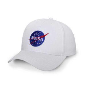 Boné Branco – Aba Curva – Logo NASA Meatball