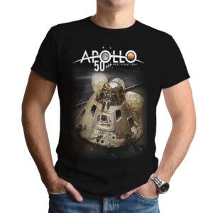Camiseta Unissex Preta – 100% Algodão – Imagem Capsula e Logo Apollo 50 Anos