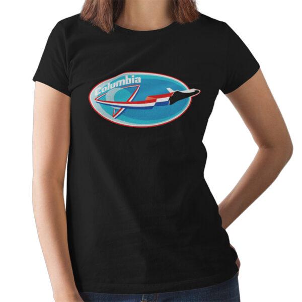 Camiseta Feminina Preta - 100% Algodão - Missão Columbia STS-4