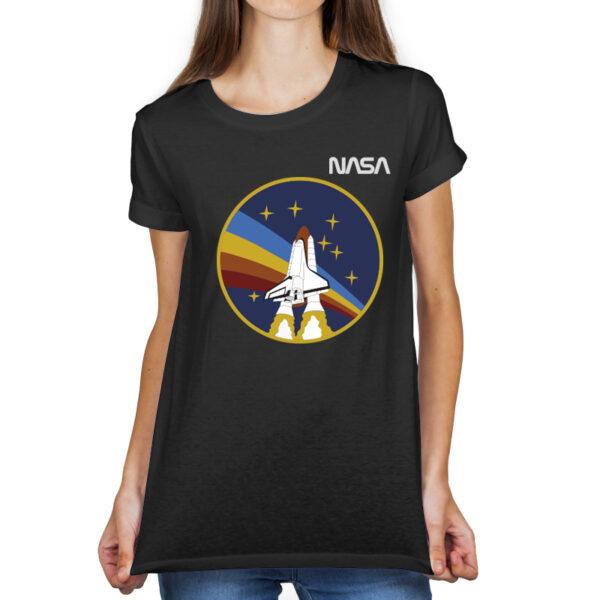 Camiseta Feminina Preta - 100% Algodão - STS-27