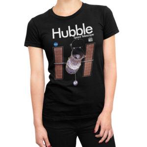 Camiseta Feminina Preta – 100% Algodão – Imagem Hubble