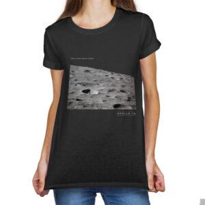 Camiseta Feminina Preta – 100% Algodão – Foto Leonov Crater