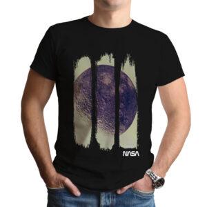 Camiseta Unissex Preta – 100% Algodão – Foto Em Negativo Da Lua Capturada Durante Missão Apollo 16