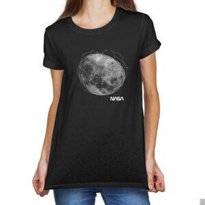 Camiseta Feminina Preta – 100% Algodão – Foto Mosaico Lua