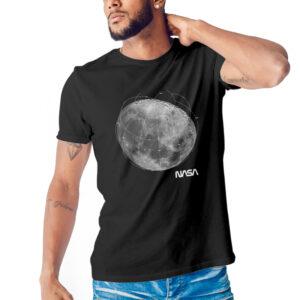 Camiseta Unissex Preta – 100% Algodão – Foto Mosaico Lua