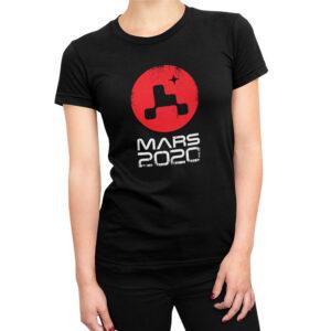 Camiseta Feminina Preta – 100% Algodão – Logo Missão Mars 2020