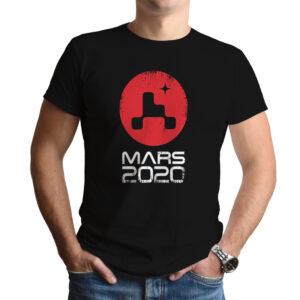 Camiseta Unissex Preta – 100% Algodão – Logo Missão Mars 2020