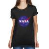 Camiseta Feminina Preta - 100% Algodão - Logo NASA Meatball