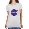 Camiseta Feminina Branca - 100% Algodão - Logo NASA Meatball