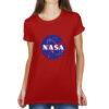 Camiseta Feminina Vermelha - 100% Algodão - Logo NASA Meatball