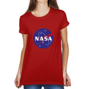 Camiseta Feminina Vermelha – 100% Algodão – Logo NASA Meatball