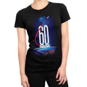 Camiseta Feminina Preta – 100% Algodão – Imagem Comemorativa NASA 60 Anos