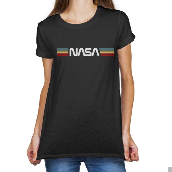Camisata Feminina Preta - 100% Algodão - Logo NASA Worm Sobre Listras