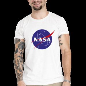 Camiseta Unissex Branca – 100% Algodão – Logo NASA Meatball