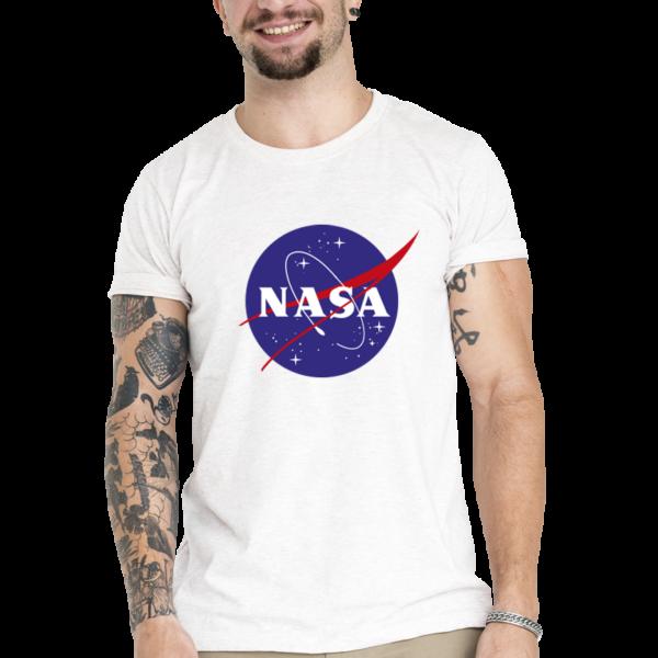 Camiseta Unissex Branca - 100% Algodão - Logo NASA Meatball