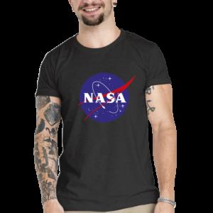Camiseta Unissex Preta – 100% Algodão – Logo NASA Meatball
