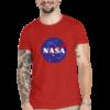 Camiseta Unissex Vermelha - 100% Algodão - Logo NASA Meatball