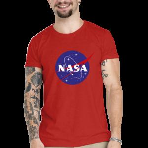 Camiseta Unissex Vermelha – 100% Algodão – Logo NASA Meatball