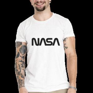 Camiseta Unissex Branca – 100% Algodão – Logo NASA Worm