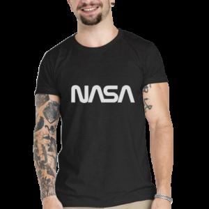 Camiseta Unissex Preta – 100% Algodão – Logo NASA Worm