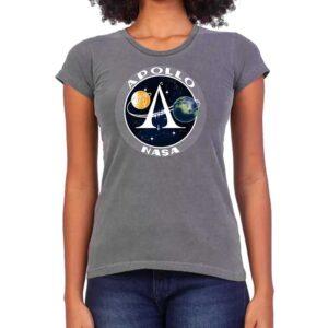 Camiseta Feminina Estonada – 100% Algodão – Programa Apollo