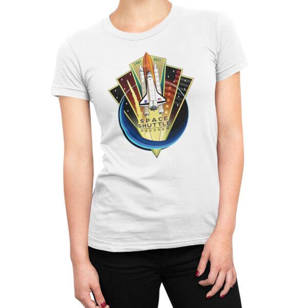 Camiseta Feminina Branca - 100% Algodão - Space Shuttle Projects