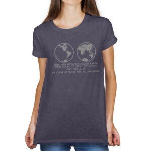 Camiseta Feminina Estonada – 100% Algodão – We Came In Peace