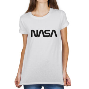 Camiseta Feminina Branca – 100% Algodão – Logo NASA Worm