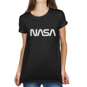 Camiseta Feminina Preta – 100% Algodão – Logo NASA Worm