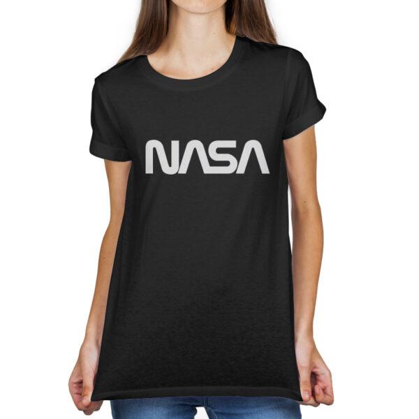 Camiseta Feminina Preta - 100% Algodão - Logo NASA Worm